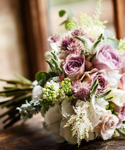 Bridal-Bouquet-vintage-roses-lilac-bydrangea-astilbe-Larkspur-Floral-Design-Florist-Cambridge-UK