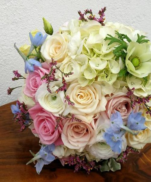Bridal bouquet, Cavalie - pastels textured hydrangea roses Larkspur-Floral-Design-cambridge-UK
