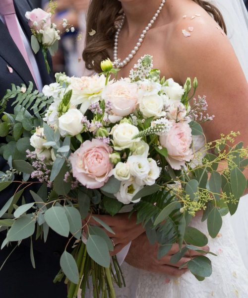 Bridalunstructured-with-trailing-&-Dahlia-&-spray-rose-&-Keira-garden-roses-Larkspur-Floral-Design-Florist-Cambridge-UK