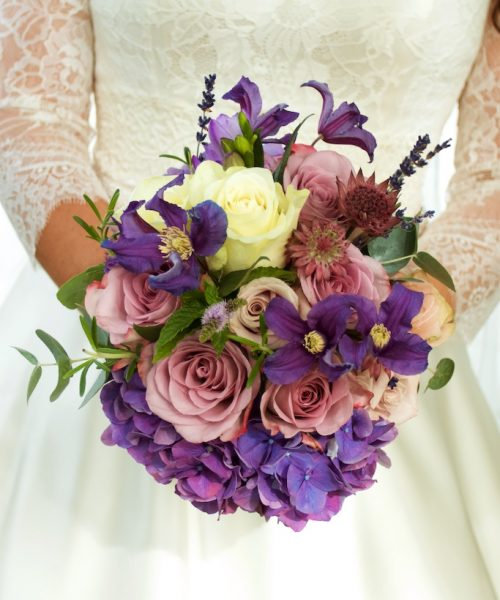 Classic Bridal bouquet purple hydrangea & dusky pinks rose