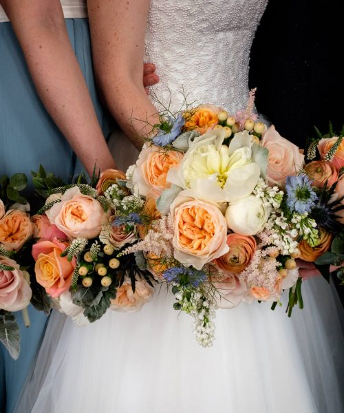 Lightworks photo peonies rose berries & seneccio peach coral & powder blue