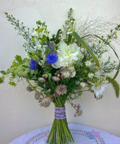 Meadow-Bouquet-Blue-White-Daisy-peony-Larkspur-Floral-Design-UK