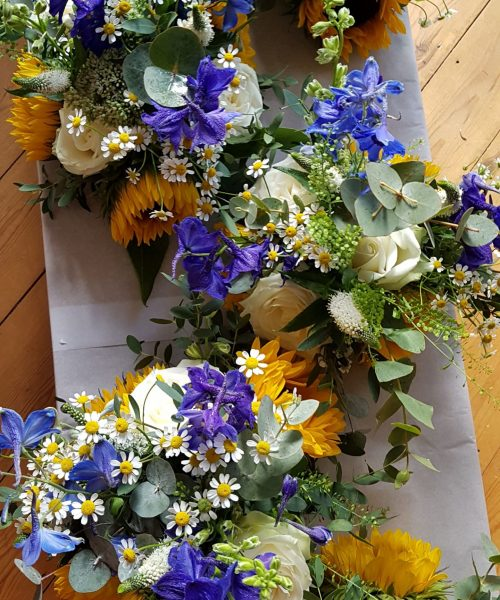 Meadowy bouquets Larkspur Floral Design Blue yellow daisy
