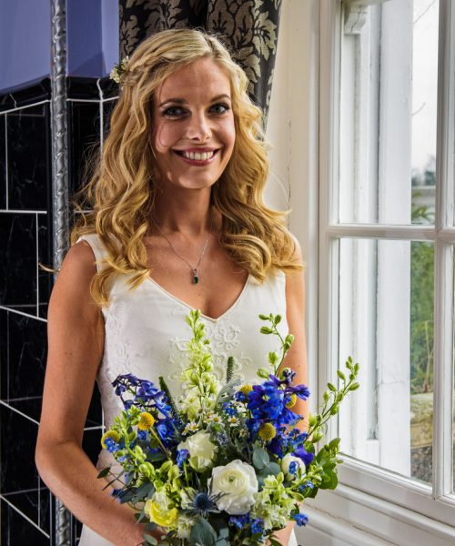 Rustic Bridal Bouquet blue white yellow Larkspur- Floral -Design