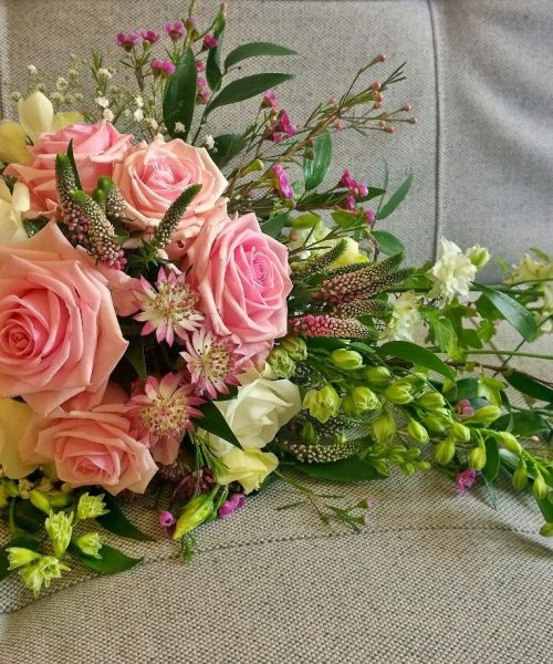 Trailing-Bouquet-Pink-Roses-Soft-Ruscus-Larkspur-Floral-Design-Cambridge-UK