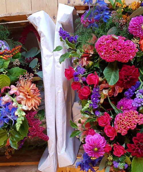 Vibrant wedding bouquets Larkspur Floral Design