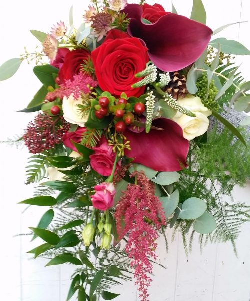 Winter-Trailing-Bouquet-Red-Calla-Lily-Larkspur-Floral-Design-Cambridge