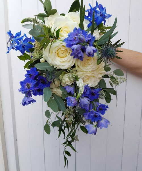 blue white bridal trailing bouquet