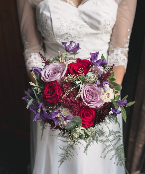 bouquet against dress
