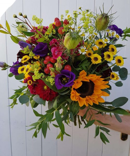 bouquet yellow red purple sunflowers scaled