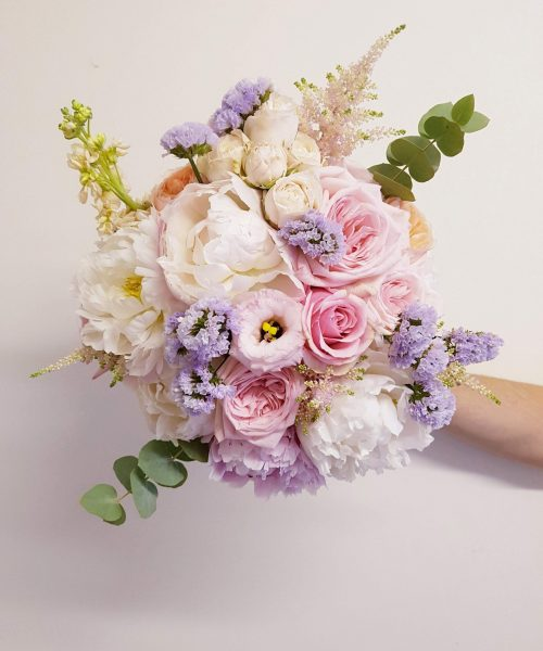 bridal bouquet pale pink lilac white garden rose