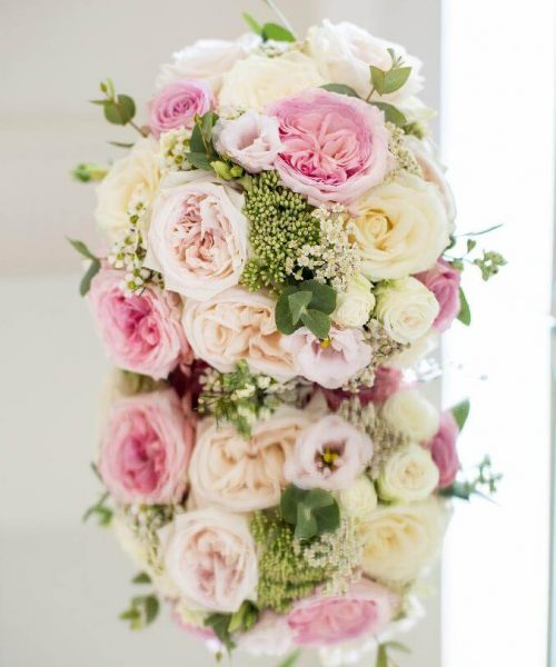 bridal-bouquet-pink-cream-garden-roses-Larkspur-Floral-Design-Florist-Cambridge-UK