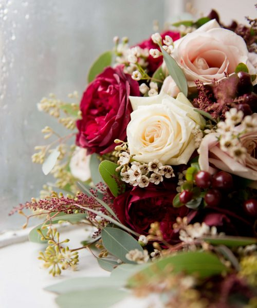 bridal-bouquet-pink-deep-red-teardrop-Selwyn-College-Larkspur-Floral-Design-Florist-Cambridge-UK