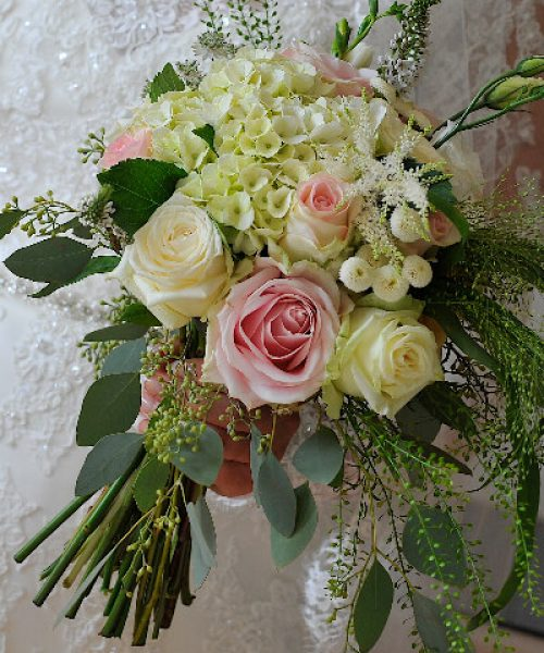 bridal-bouquet-soft-pink-hydrangea-rose-lisi-with-trailing-Larkspur-Floral-Design-Florist-Cambridge-UK