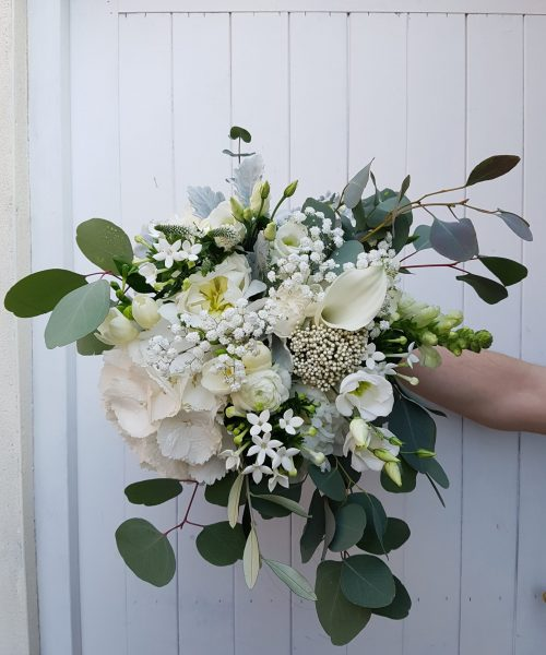 bridal bouquet wild loose whites silvery green
