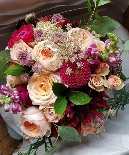 classic bridal bouquet garden roses peach burgundy Larkspur Floral Design Cambridge Uk