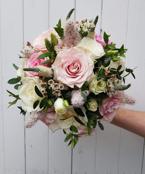 classic bridal bouquet rose dusky pink