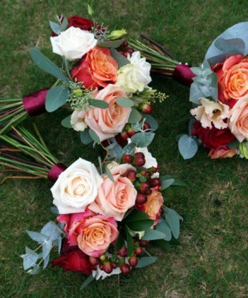 classic maids wedding posies Autumnal shades Larkspur Floral Design Cambridge UK