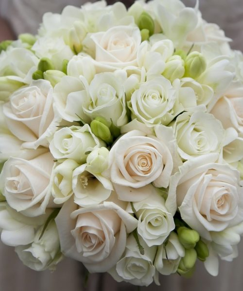 white-Classic-Rose-Freesia- bouquet-Larkspur-Floral-Design-Cambridge-UK
